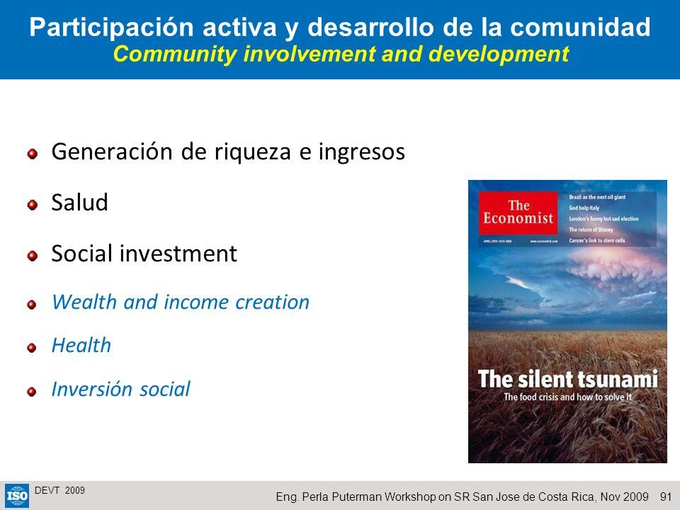 Generación de riqueza e ingresos Salud Social investment