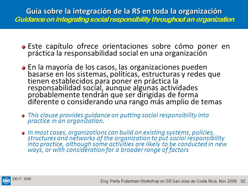 Guía sobre la integración de la RS en toda la organización Guidance on integrating social responsibility throughout an organization
