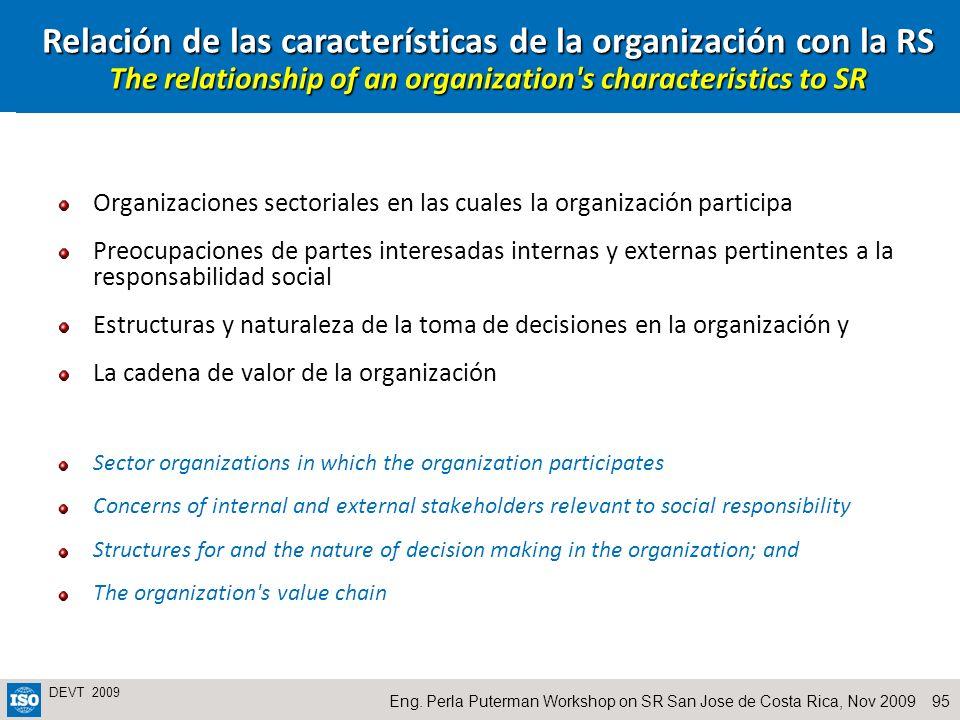 Relación de las características de la organización con la RS The relationship of an organization s characteristics to SR