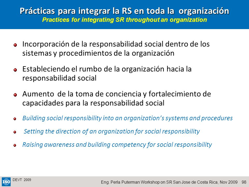 Prácticas para integrar la RS en toda la organización Practices for integrating SR throughout an organization