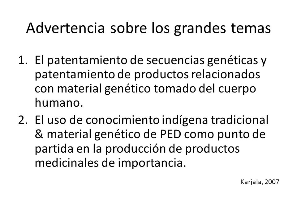 Advertencia sobre los grandes temas