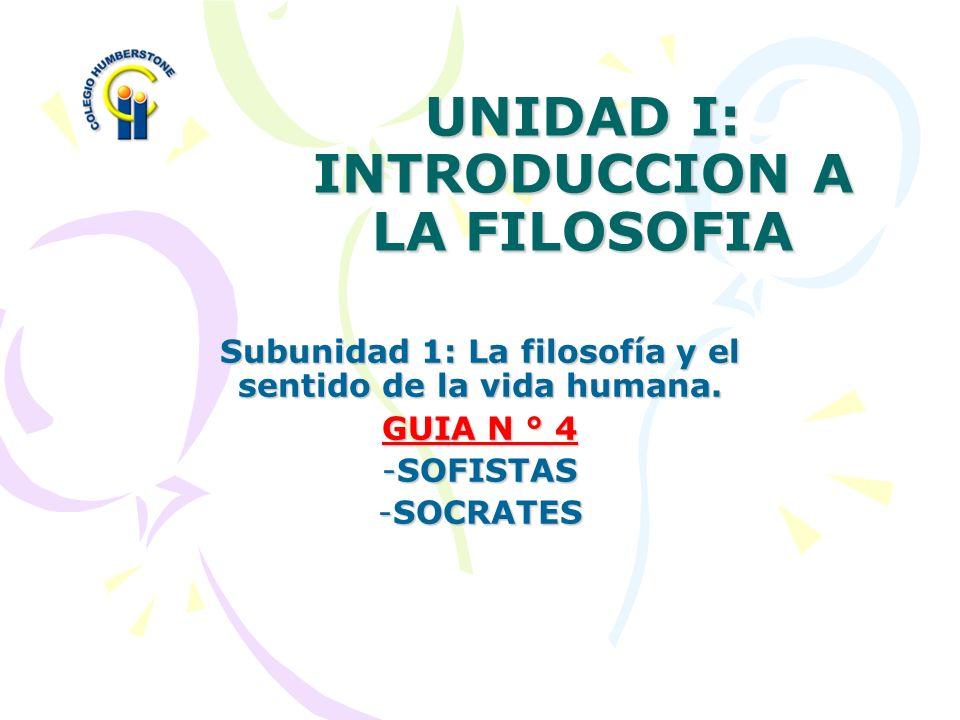 UNIDAD I: INTRODUCCION A LA FILOSOFIA