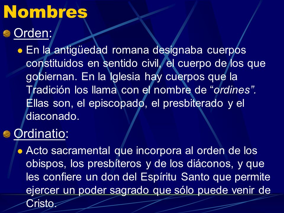 Nombres Orden: Ordinatio: