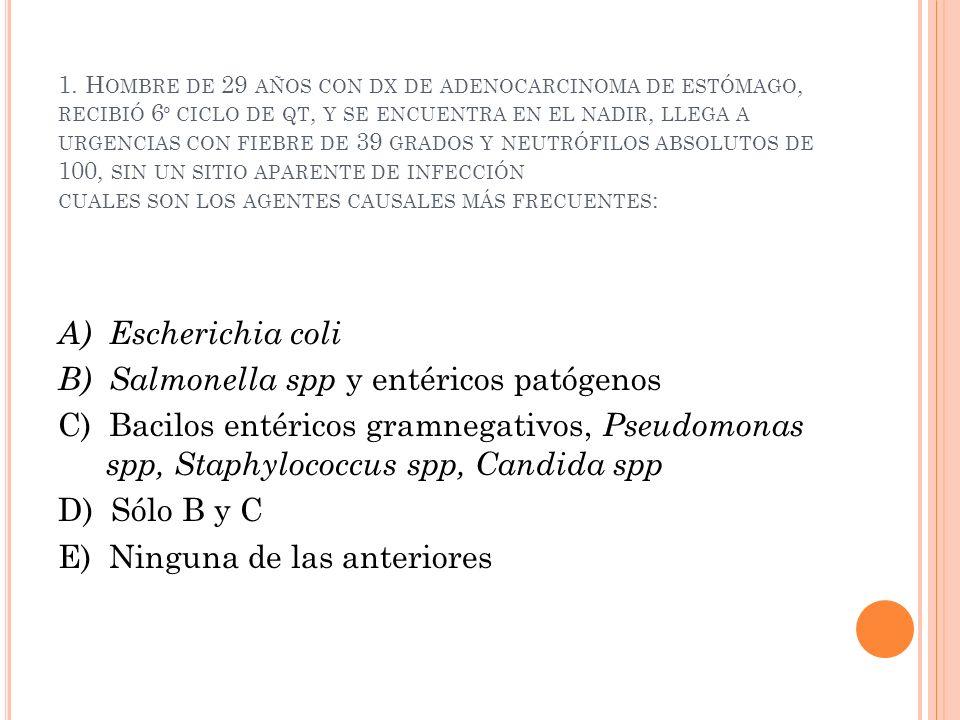 B) Salmonella spp y entéricos patógenos