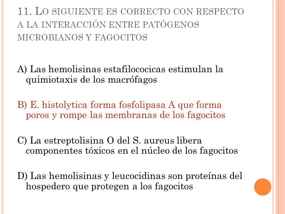 11. Lo siguiente es correcto con respecto a la interacción entre patógenos microbianos y fagocitos