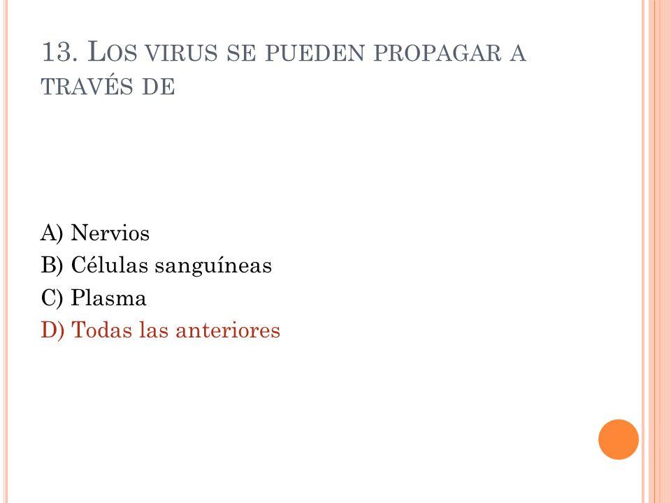 13. Los virus se pueden propagar a través de