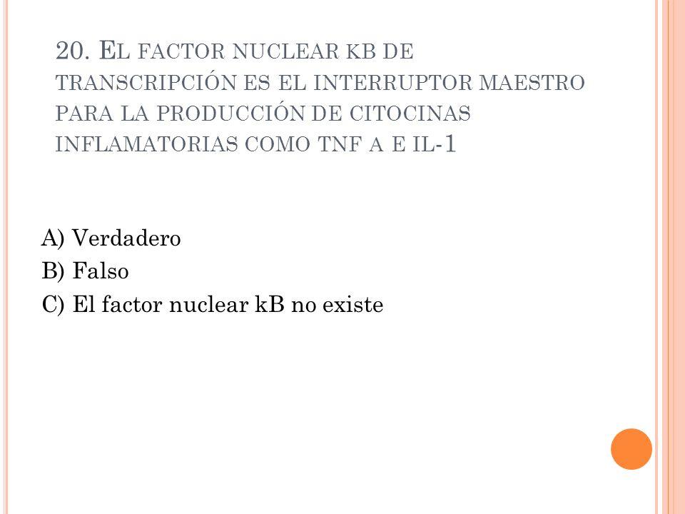 20. El factor nuclear kb de transcripción es el interruptor maestro para la producción de citocinas inflamatorias como tnf a e il-1