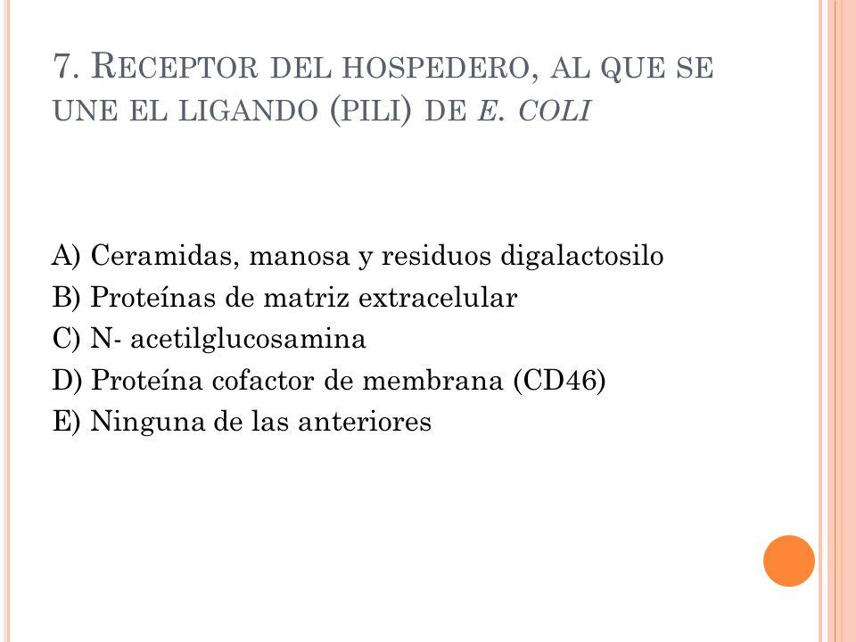 7. Receptor del hospedero, al que se une el ligando (pili) de e. coli