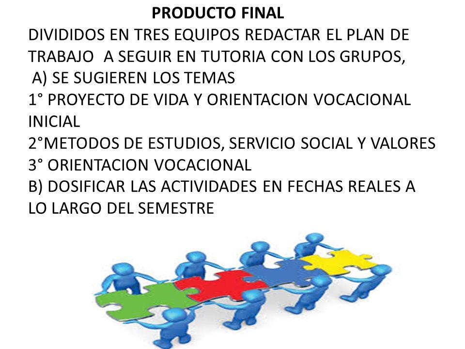 PRODUCTO FINAL DIVIDIDOS EN TRES EQUIPOS REDACTAR EL PLAN DE TRABAJO A SEGUIR EN TUTORIA CON LOS GRUPOS, A) SE SUGIEREN LOS TEMAS 1° PROYECTO DE VIDA Y ORIENTACION VOCACIONAL INICIAL 2°METODOS DE ESTUDIOS, SERVICIO SOCIAL Y VALORES 3° ORIENTACION VOCACIONAL B) DOSIFICAR LAS ACTIVIDADES EN FECHAS REALES A LO LARGO DEL SEMESTRE