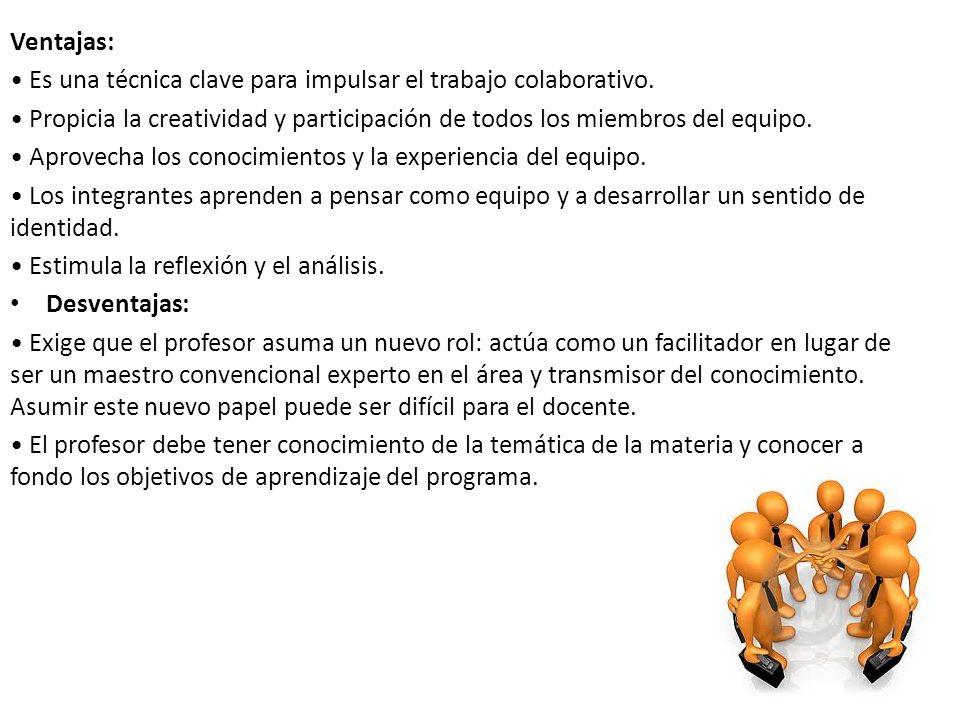 Ventajas: • Es una técnica clave para impulsar el trabajo colaborativo. • Propicia la creatividad y participación de todos los miembros del equipo.