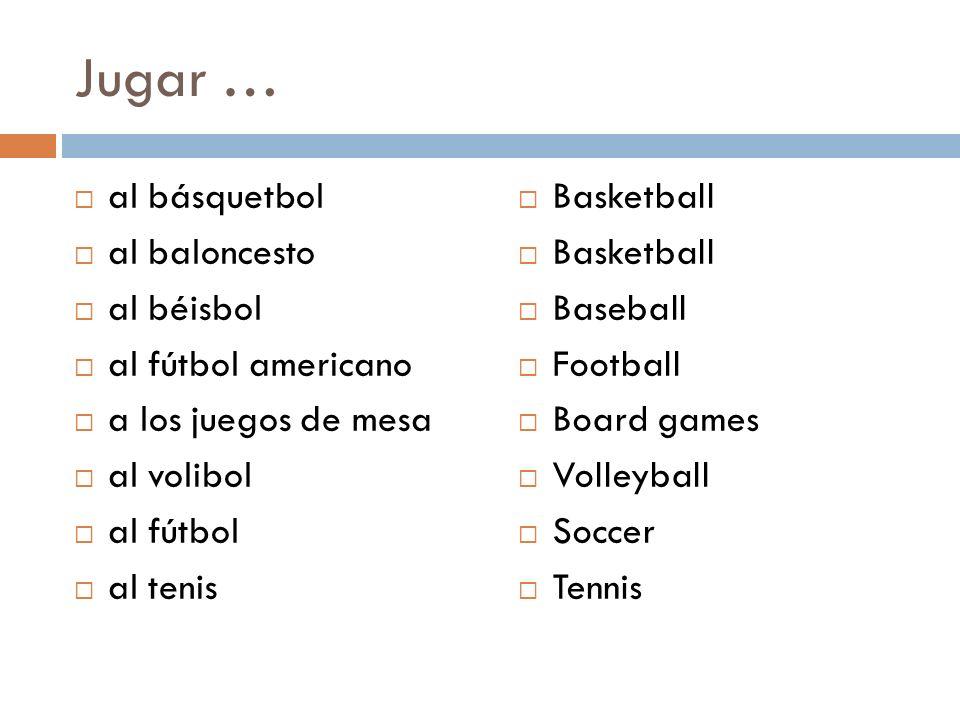Jugar … al básquetbol al baloncesto al béisbol al fútbol americano