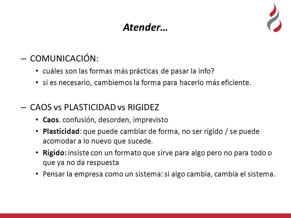 Atender… COMUNICACIÓN: CAOS vs PLASTICIDAD vs RIGIDEZ