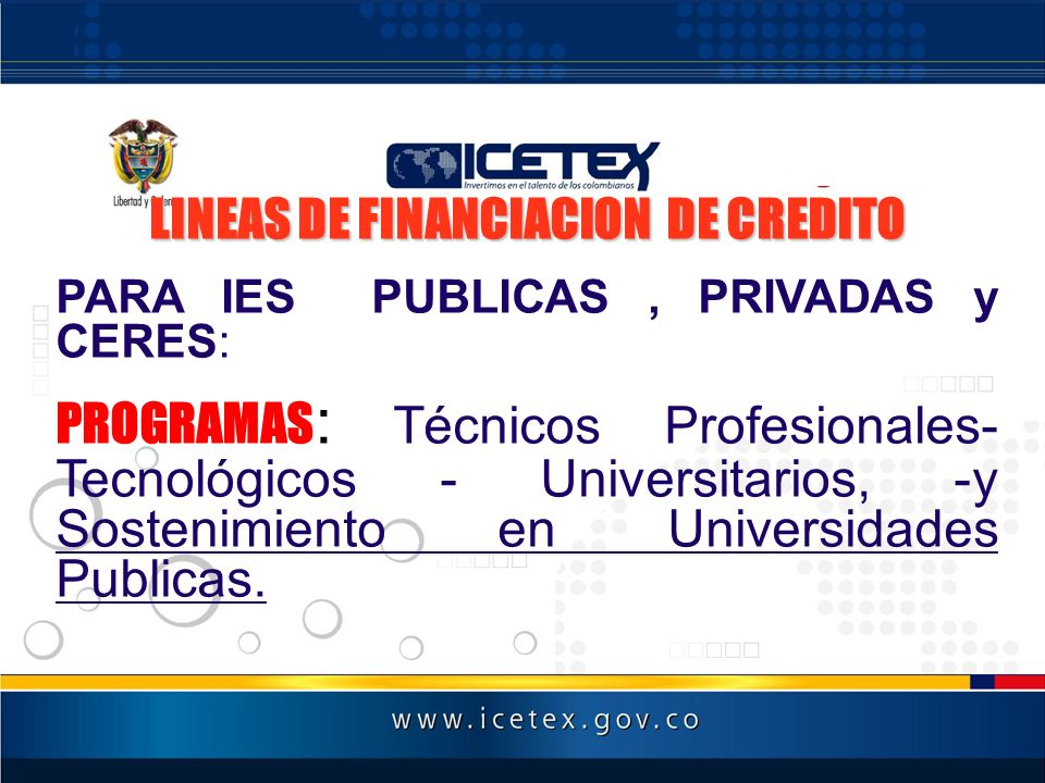 LINEAS DE FINANCIACION DE CREDITO
