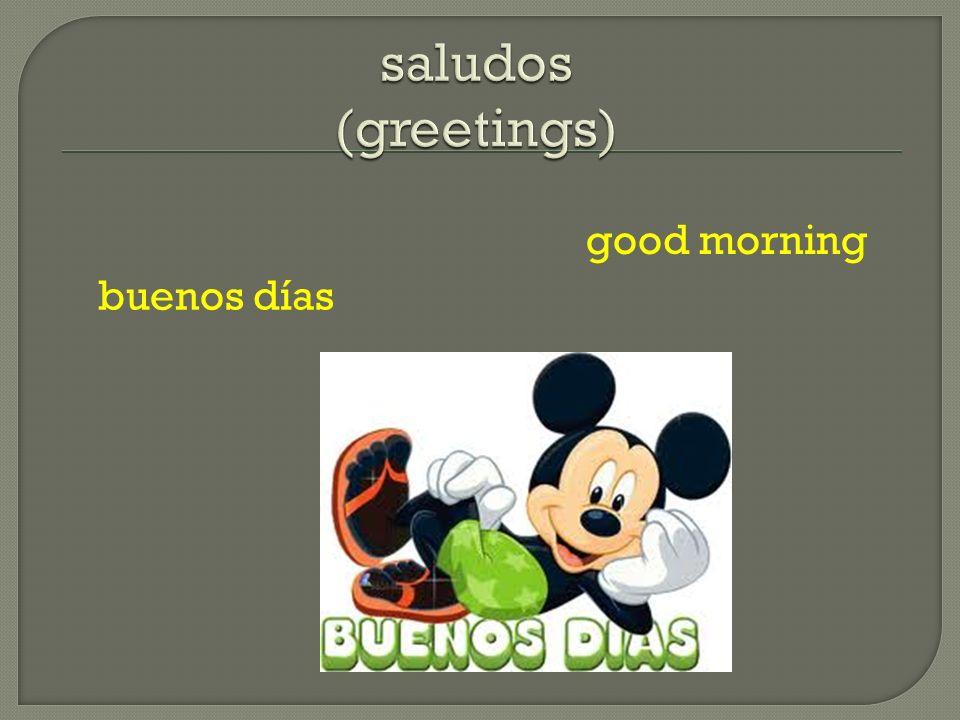saludos (greetings) good morning buenos días