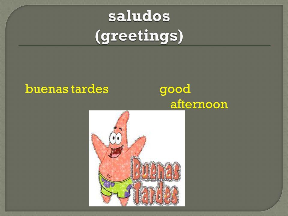 saludos (greetings) buenas tardes good afternoon
