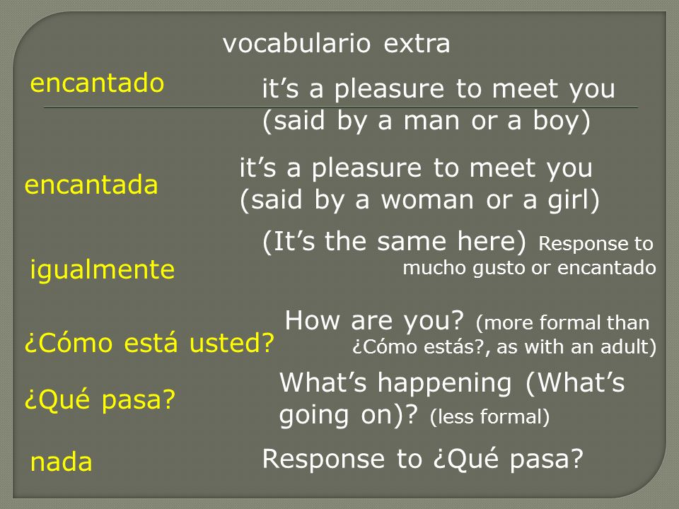 vocabulario extra encantado. it's a pleasure to meet you (said by a man or a boy) it's a pleasure to meet you (said by a woman or a girl)
