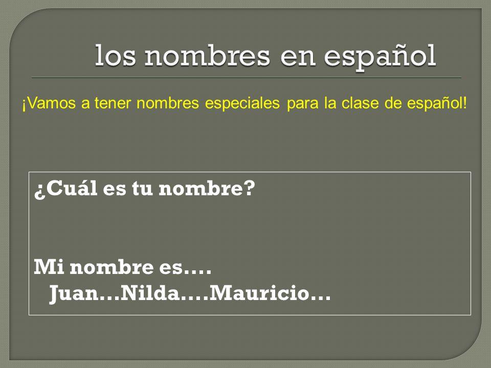 los nombres en español ¡Vamos a tener nombres especiales para la clase de español.