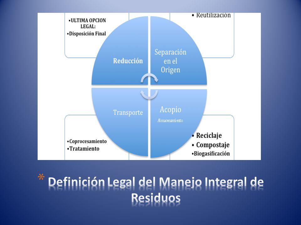 Definición Legal del Manejo Integral de Residuos