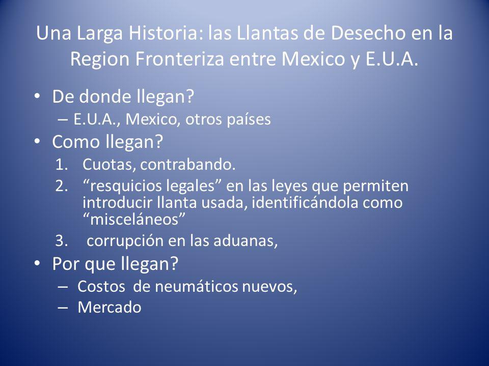 Una Larga Historia: las Llantas de Desecho en la Region Fronteriza entre Mexico y E.U.A.