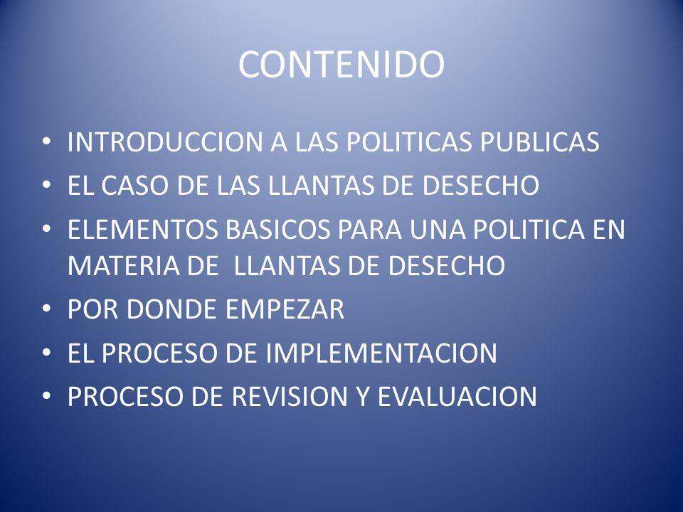 CONTENIDO INTRODUCCION A LAS POLITICAS PUBLICAS