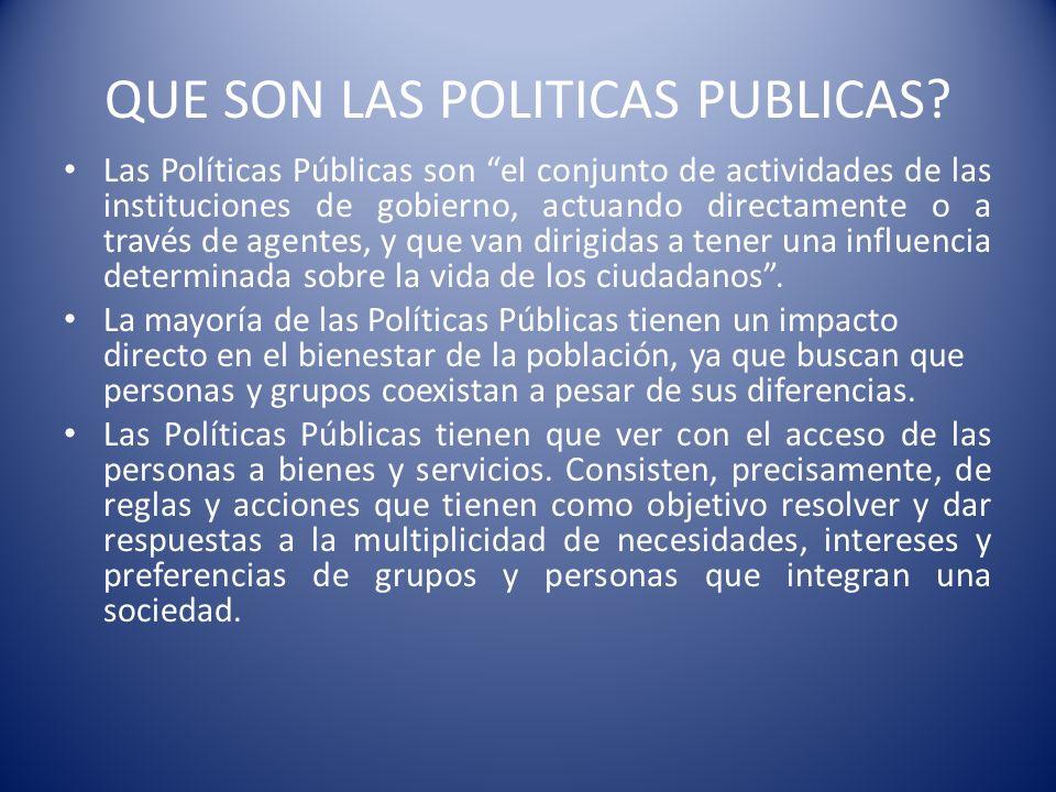 QUE SON LAS POLITICAS PUBLICAS