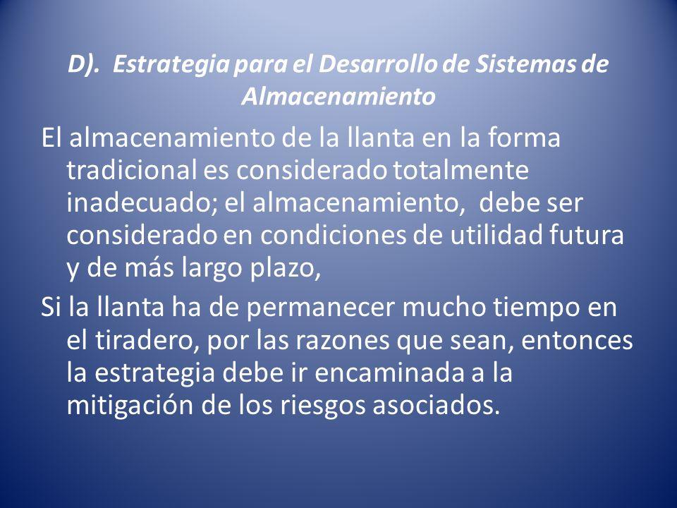 D). Estrategia para el Desarrollo de Sistemas de Almacenamiento