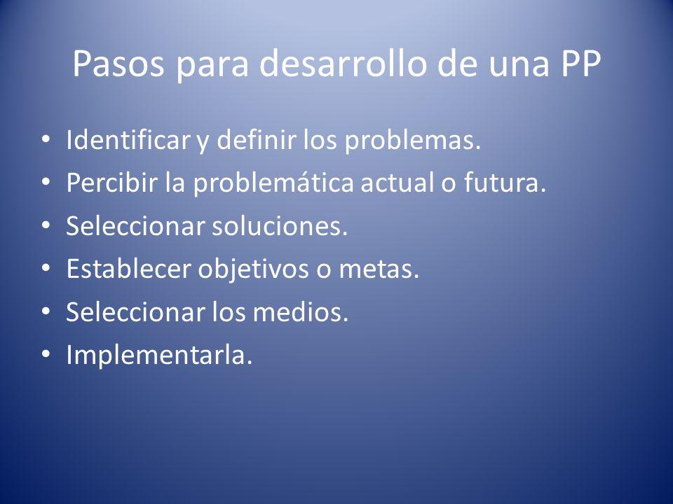 Pasos para desarrollo de una PP