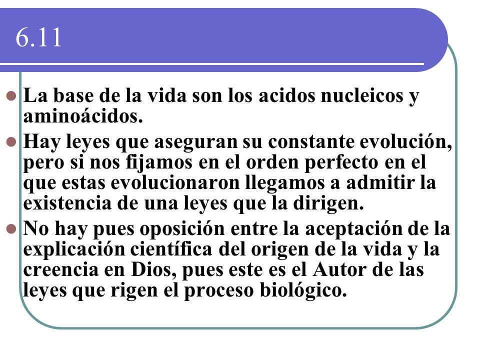 6.11 La base de la vida son los acidos nucleicos y aminoácidos.