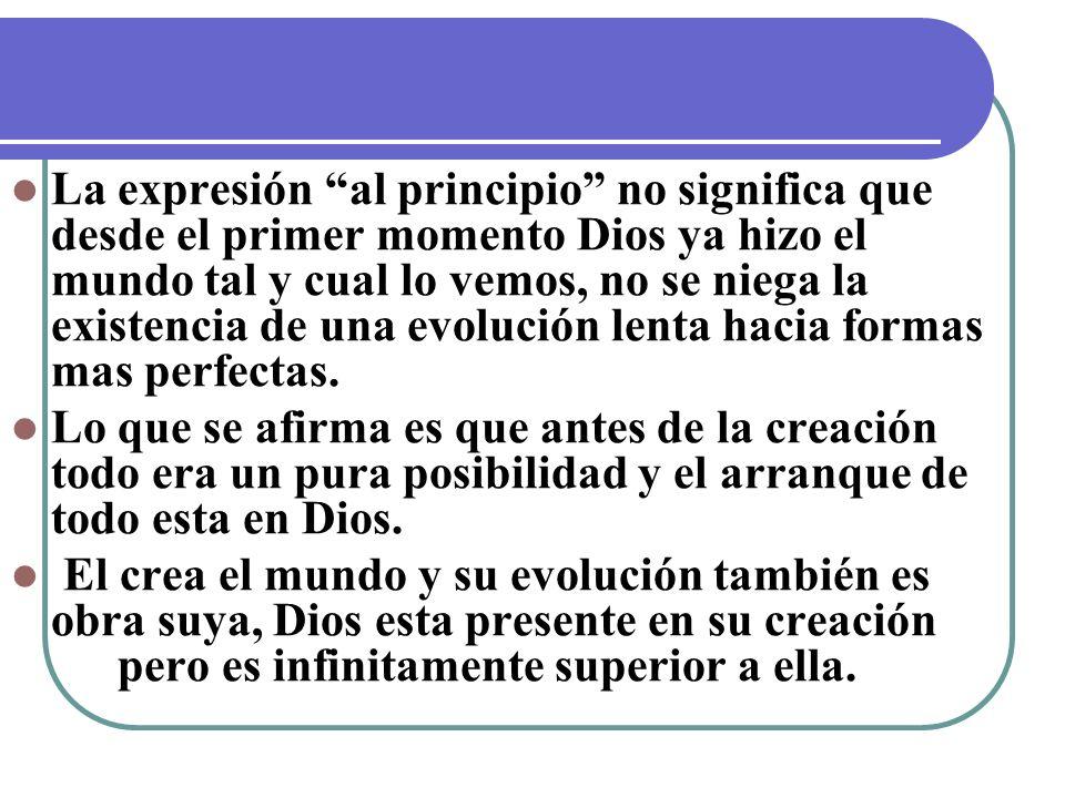 La expresión al principio no significa que desde el primer momento Dios ya hizo el mundo tal y cual lo vemos, no se niega la existencia de una evolución lenta hacia formas mas perfectas.