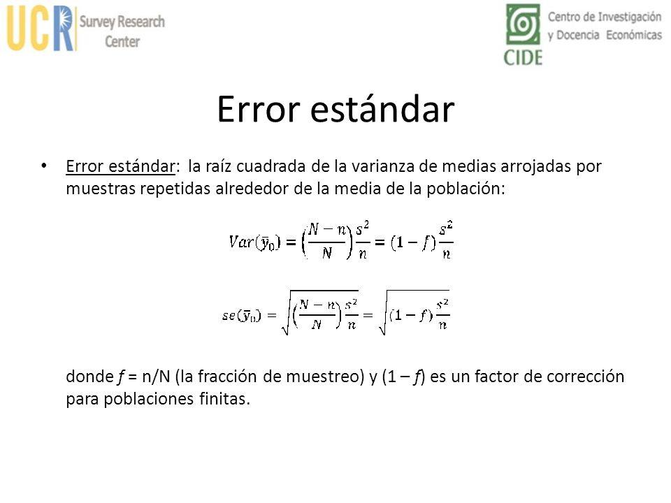 Error estándar Error estándar: la raíz cuadrada de la varianza de medias arrojadas por muestras repetidas alrededor de la media de la población: