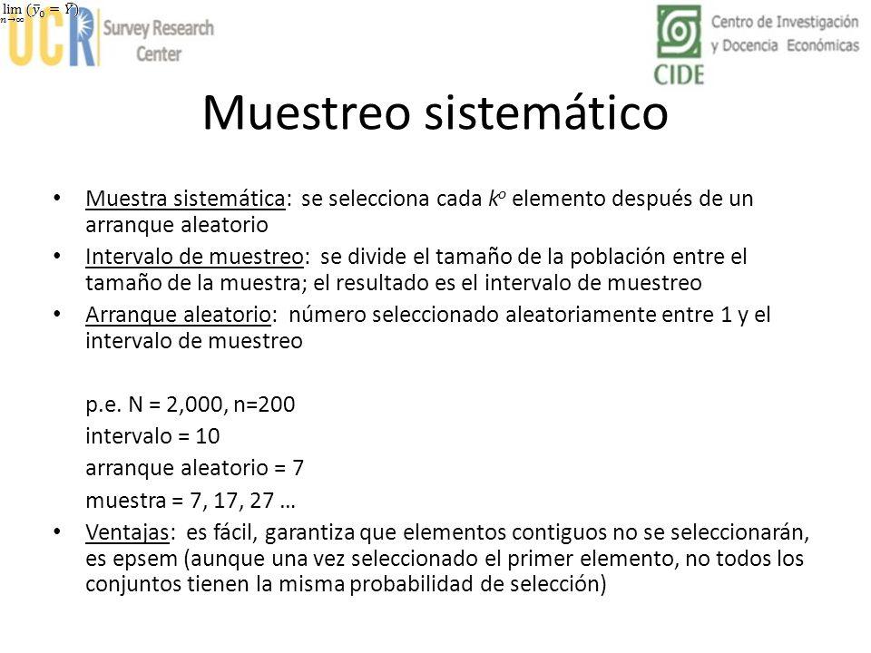 Muestreo sistemático Muestra sistemática: se selecciona cada ko elemento después de un arranque aleatorio.