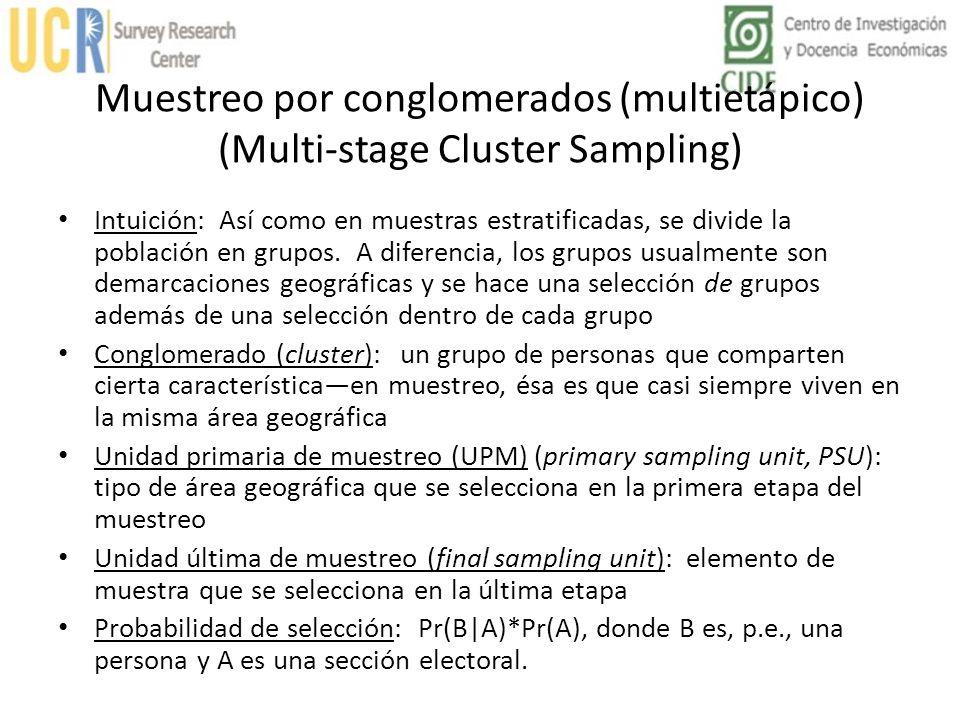 Muestreo por conglomerados (multietápico) (Multi-stage Cluster Sampling)