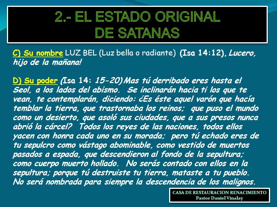 2.- EL ESTADO ORIGINAL DE SATANAS