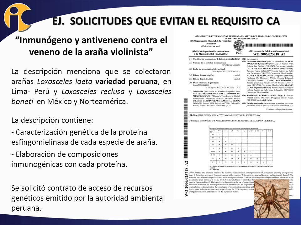 EJ. SOLICITUDES QUE EVITAN EL REQUISITO CA