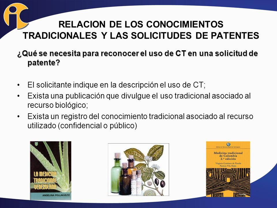 RELACION DE LOS CONOCIMIENTOS TRADICIONALES Y LAS SOLICITUDES DE PATENTES