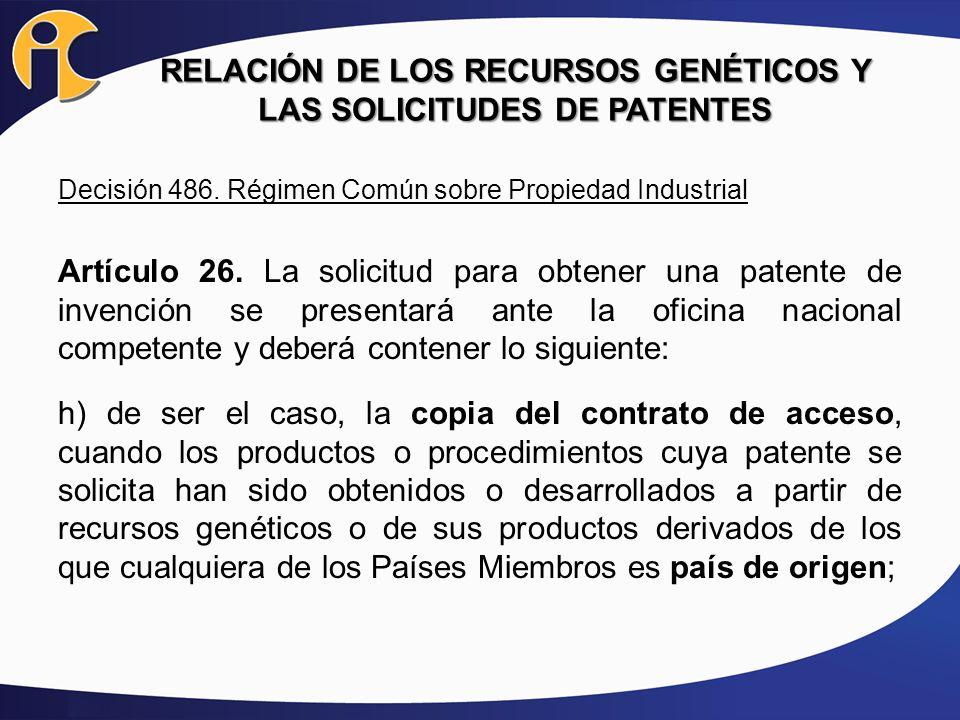 RELACIÓN DE LOS RECURSOS GENÉTICOS Y LAS SOLICITUDES DE PATENTES