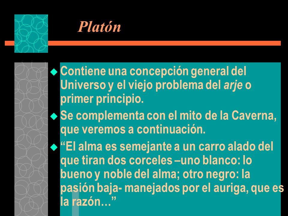 Platón Contiene una concepción general del Universo y el viejo problema del arje o primer principio.