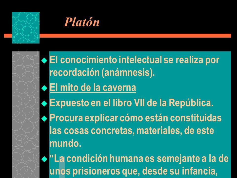 Platón El conocimiento intelectual se realiza por recordación (anámnesis). El mito de la caverna. Expuesto en el libro VII de la República.