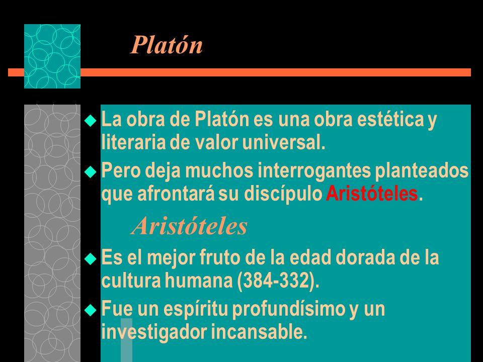 Platón La obra de Platón es una obra estética y literaria de valor universal.