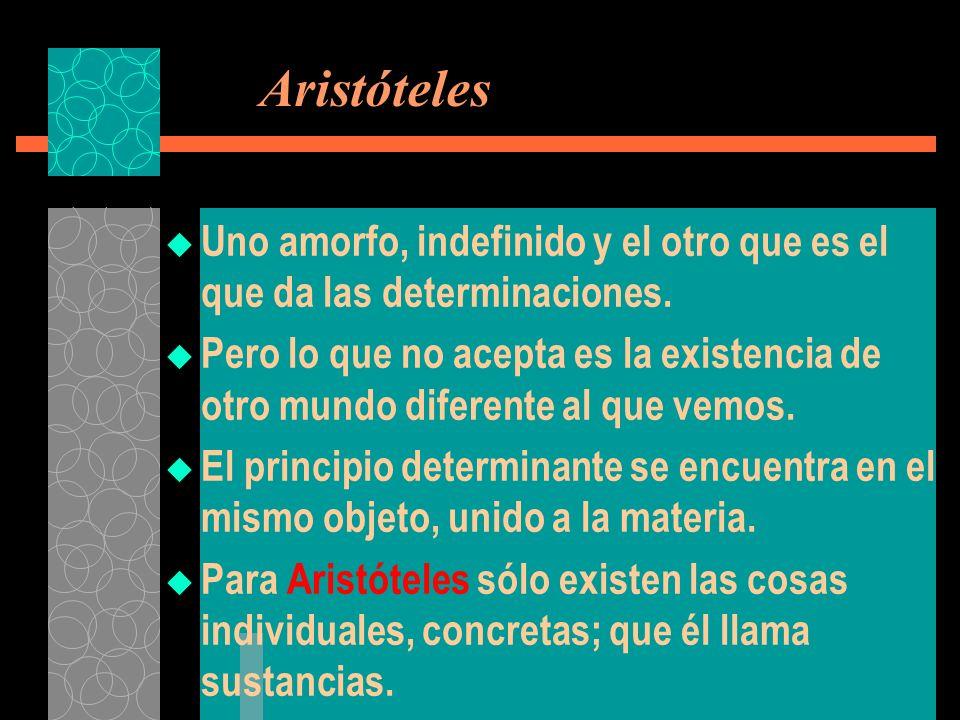 Aristóteles Uno amorfo, indefinido y el otro que es el que da las determinaciones.