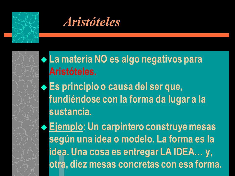 Aristóteles La materia NO es algo negativos para Aristóteles.