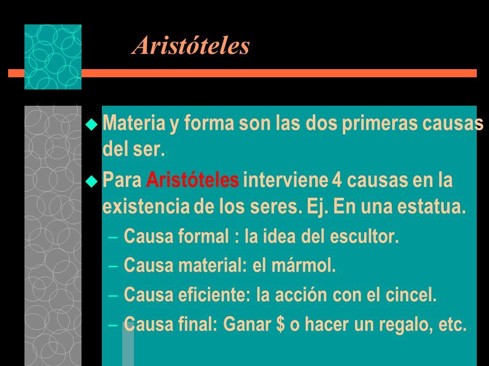 Aristóteles Materia y forma son las dos primeras causas del ser.