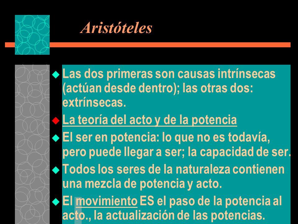 Aristóteles Las dos primeras son causas intrínsecas (actúan desde dentro); las otras dos: extrínsecas.