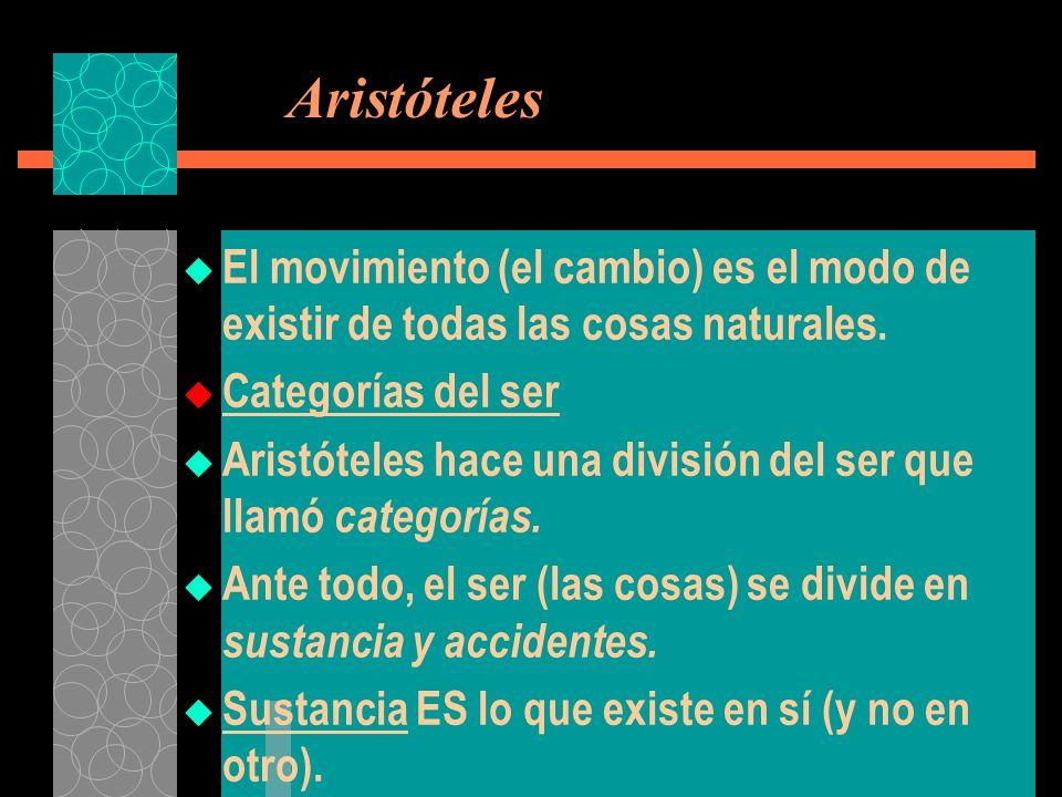 Aristóteles El movimiento (el cambio) es el modo de existir de todas las cosas naturales. Categorías del ser.