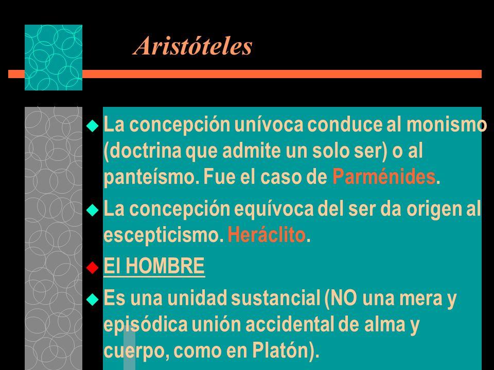 Aristóteles La concepción unívoca conduce al monismo (doctrina que admite un solo ser) o al panteísmo. Fue el caso de Parménides.