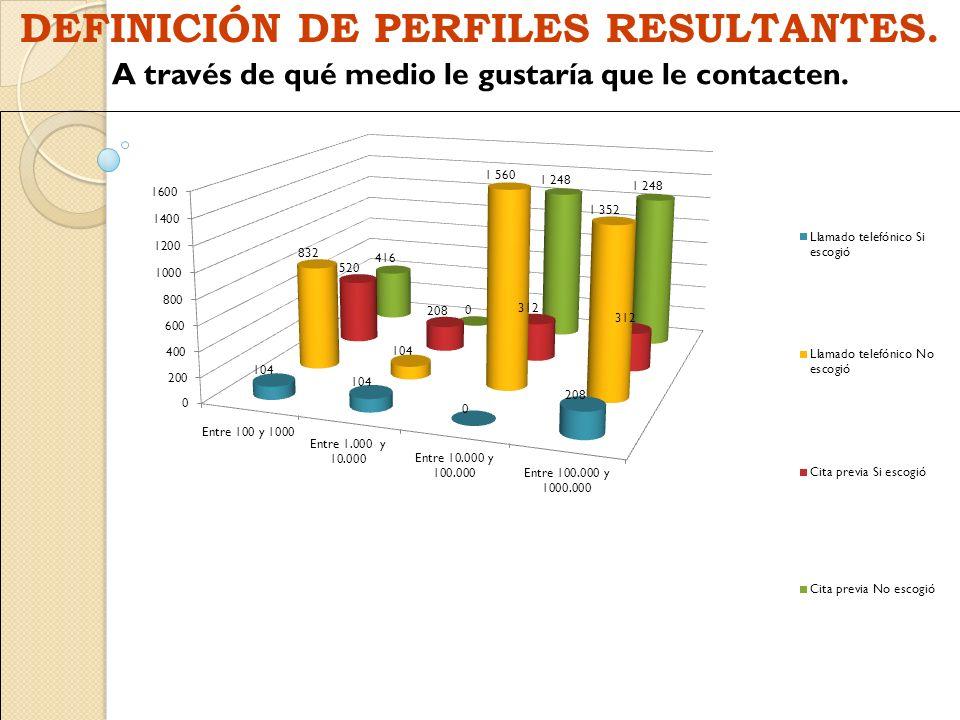 DEFINICIÓN DE PERFILES RESULTANTES.