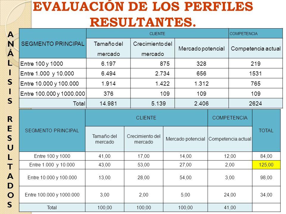 EVALUACIÓN DE LOS PERFILES RESULTANTES.