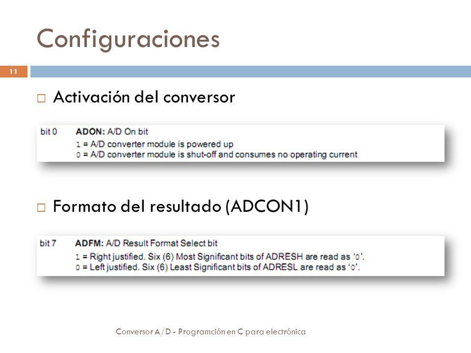 Configuraciones Activación del conversor