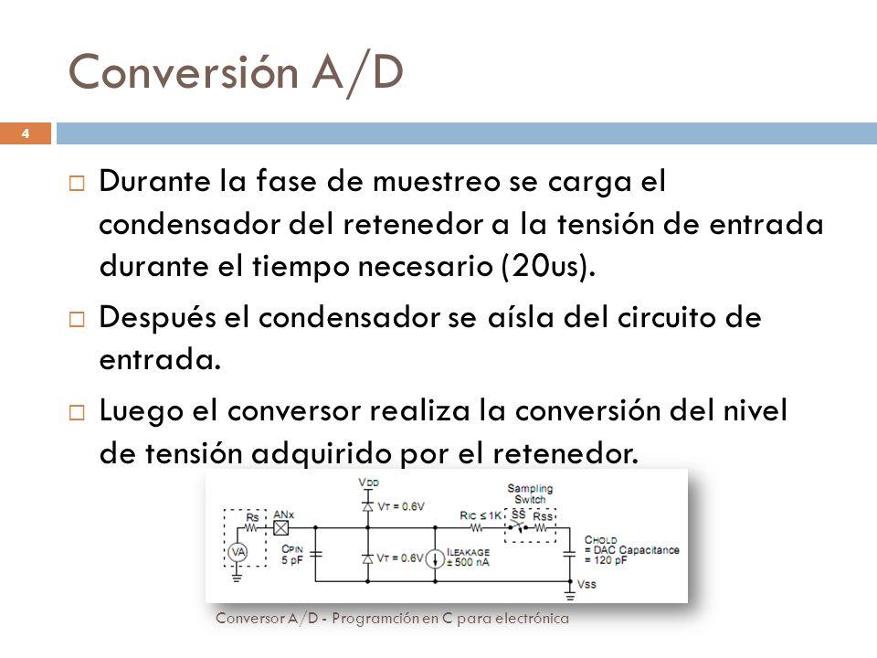 Conversión A/D Durante la fase de muestreo se carga el condensador del retenedor a la tensión de entrada durante el tiempo necesario (20us).