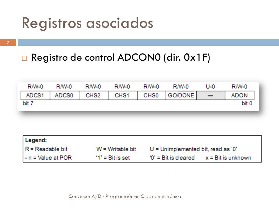 Registros asociados Registro de control ADCON0 (dir. 0x1F)